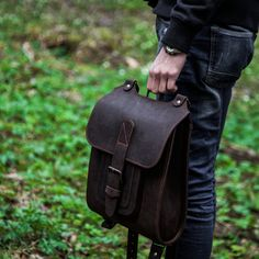 """Brown leather backpack 13"""". Handmade of hard and sturdy leather to last for ages. Find out more today on Etsy by InBagWeTrust"""