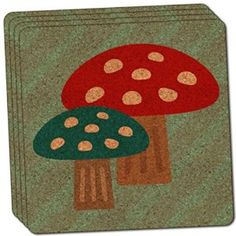 "Amazon.com: Custom & Cool {4"" Inches} Set Pack of 4 Square ""Grip Texture"" Drink Cup Coaster Made of Cork w/ Cork Bottom & Forest Woodland Mushroom Pair Scene Design [Blue, Brown, Red & White Colors]: Home & Kitchen"