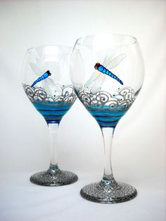 Turquoise Dragonfly Goblet Glasses Hand Painted Glassware Goblet Pair