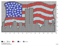 911 New York skyline on US flag wall hanging Cross Stitching, Cross Stitch Embroidery, Cross Stitch Patterns, Plastic Canvas Tissue Boxes, Plastic Canvas Crafts, Free Plastic Canvas Patterns, Graph Paper Art, Needlepoint Patterns, Crochet Patterns