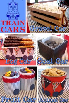 "The ""gravel car"" was full of marshmallows, ""log car"" was chocolate covered pretzels, ""coal car"" was chocolate doughnut holes,  ""fruit cars"" were full of Runts,  ""animal car"" was Animal Crackers!"