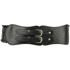 Ruched Double Buckle Belt (7.05 CAD) ❤ liked on Polyvore featuring accessories, belts, black, leather strap belt, wide black belt, leather belt, double buckle belt and real leather belts