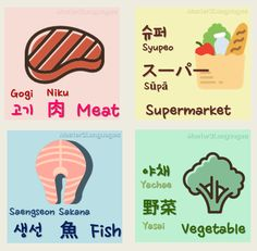 Supermarket - Meat - Fish - VegetableKorean• Hangul: 슈퍼 - 고기 - 생선 - 야채 • Romanization: Syupeo - Gogi - Saengseon - Yachae • Today's Vocab Lesson: Top 10 Healthy Foods in Korean Japanese• Kana: スーパー -...