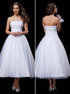 Ball Gown Wedding Dress - White Tea-length Strapless Tulle - USD $109.99