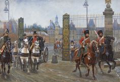 Napoleon and escort of the Chasseurs a Cheval of the Guard.