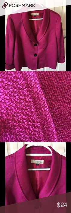 Magenta blazer This magenta colored jacket features a two-button look. However, the buttons are actually snaps. See close up in photos. The jacket measures 24 inches long, from the top of the back collar, to the bottom hem. Super fun color. The close-up of the textured fabric is more true to the actual color. Tahari Woman Jackets & Coats Blazers