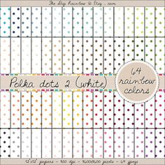 WHITE POLKA DOTS 64 colors scrapbooking printable papers for crafts, journaling, party organization and decor or any DIY projects. 40% OFF!