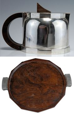 "Jean Emile Puiforcat, Paris, c. 1940, Art Deco teapot and serving tray, silverplate and exotic woods, teapot: H. 13.5 cm., tray: 56 x 49.5 cm. Tray marked with the head of Minerva and ""EP"". Teapot with Minerva head and  ""JEAN E. PUIFORCAT, EP. """