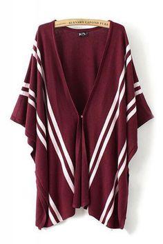 Burgundy Loose V-neck Striped Cardigan Sweater