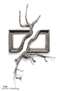 Fusion Frames NW Tree Branch Sculpture - GEMINI: Antique Wood & Gesso Frame with Grafted Juniper Tree and Manzanita Branch Manzanita Branches, Tree Branches, Tree Branch Decor, Deco Nature, Framed Art, Wall Art, Driftwood Crafts, Antique Frames, How To Antique Wood