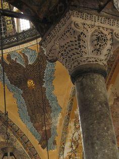 Justinian and Theodora's monogram in the Hagia Sophia