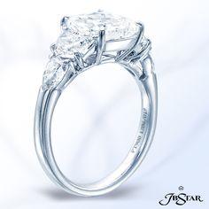 1206-019-platinum diamond ring featuring a 4.31ct cushion diamond embraced by half-moon and shield diamonds
