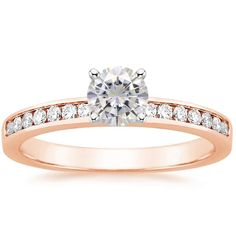 14K Rose Gold Moissanite Petite Channel Set Round Diamond Ring