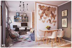 Apartamento pequeno, de 40m², super funcional e amplo. Tons neutros, combinados com tons pastel e ambientes integrados para deixar o apartamento mais amplo.