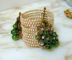 Vintage Signed Miriam Haskell Bracelet 10 ROWS of BAROQUE PEARLS XRARE