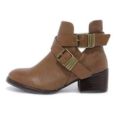 Bronco 11 Tan Cutout Ankle Boots ($38) ❤ liked on Polyvore featuring shoes, boots, ankle booties, brown, buckled cutout booties, brown boots, cut-out ankle boots, cut out booties and tan booties