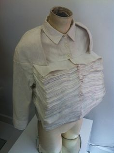 Shirt with sculptural stacked layers like book pages - constructed textiles; fabric manipulation; inventive fashion design // Steven Tai