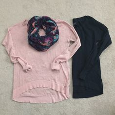 American Eagle Pre-Made Sweater Bundle Adorable AEO sweaters with hi-lo hem. Perfect for spring transition. Pink is slightly heather-ed in color and the other is a navy blue. Requires layering as you can see both are like fish-net. Great paired with a scarf and skinnies. Scarf not included. Medium - would fit small or medium. Minimal wear. American Eagle Outfitters Sweaters Crew & Scoop Necks