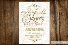Elegant pink and gold Bridal Shower Invitation  by Classicology, $15.00