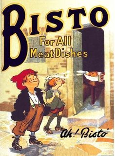 Bisto for all meat dishes vintage style metal wall plaque sign home office Vintage Advertisements, Vintage Ads, Vintage Posters, Vintage Style, Vintage Food, Vintage Labels, Vintage Metal, Vintage Images, Vintage Advertising Signs