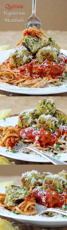 Easy Quinoa Vegetarian Meatballs packed full of traditional Italian spices and two types of cheese! So delicious you won't even miss the meat! ~American Heritage Cooking  #quinoa #vegetarian #glutenfree #healthy #dinner  #meatballs #pasta #recipe
