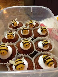 Rosh Hashana honey cakes with homemade marzipan bees.