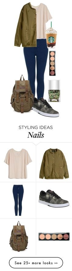 Todays Outfit by georgielearx on Polyvore featuring Topshop, Fine Collection, HM, NIKE and Nails Inc.