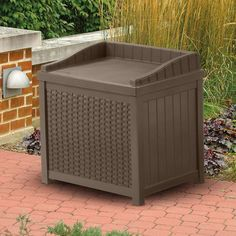 Patio Storage Bench Deck Resin Furniture Box Outdoor Container Seat Brown  73 Gal | Patio Storage Bench