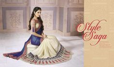 Delightful Blue And Cream Jacquard Zari Work Designer Saree, Product Code :8325, shop now http://www.sareesaga.com/delightful-blue-and-cream-jacquard-zari-work-designer-saree-8325  Email :support@sareesaga.com What's App or Call : +91-9825192886