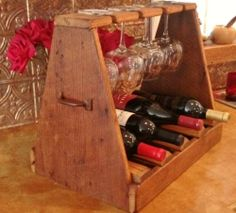 Handmade large wood wine carrier crafted from old barn wood Hill Country TX
