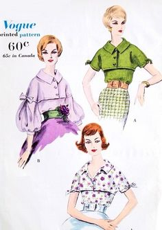 1950s Beautiful Blouse Pattern Vogue 9803 Gorgeous Sleeves Two Style Versions Daytime or Evening Bust 36 Vintage Sewing Pattern