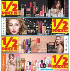 Ladies- it's time to restock your #cosmetics during this #halfpricesale on #revlon #maybelline #rimmel #sallyhansen at Chemist Warehouse and My Chemist and ePharmacy. #onsale until 26/5/16 #makeup #cosmetics #cosmeticsale #makeupaddict #nailcare #chemistwarehouse #mychemist #epharmacy