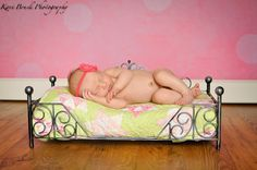 Newborn baby girl studio session. Newborn inspiration for baby pictures.  Image by Kari Bruck Photography