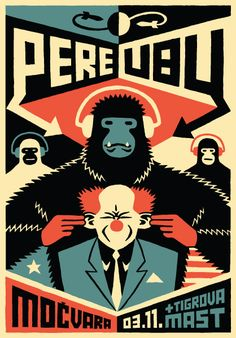 Love this illustration.  A clown with ears being pulled by a gorilla, who is rocking out