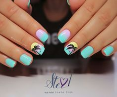 Ombre tropical nails by StellaSam from Nail Art Gallery Winter Nails, Summer Nails, Cute Nails, Pretty Nails, Gorgeous Nails, Tropical Nail Art, Beach Nails, Acrylic Nail Art, Nail Art Galleries