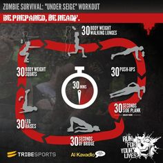 tribesports:  The final workout in our Zombie Survival Series was created for Tribesports by top calisthenics coach Al Kavadlo. The Under Siege Workout is a body weight only routine designed to give you a full body workout in a situation where you have no access to any equipment. It is the perfect workout to stay fit when you find yourself hiding away and under siege from zombies, awaiting rescue or an opportunity to escape.