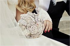 A silver and pearl brooch bouquet I created for Anna, who had her destination wedding in NYC. : )    Please contact me for your custom brooch bouquet at Jennifer @ ClayBouquetShop.com