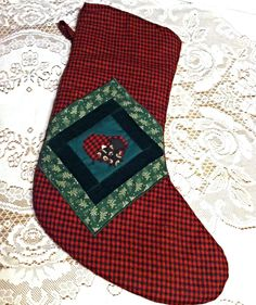 Superior quality Handmade Christmas Stocking with a handmade and sewn Sheep Quilt-like Appliqué design.  Fully lined. Free Shipping in USA