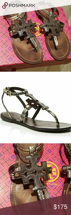 Tory Burch Sandals Dark brown, embossed snakeskin  sandals. Worn only a few times. Like new. Tory Burch Shoes Sandals