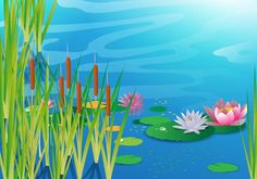 Lake with Cattails Vector -   Beautiful lake with a bunch of cattails background.  - https://www.welovesolo.com/lake-with-cattails-vector/?utm_source=PN&utm_medium=weloveso80%40gmail.com&utm_campaign=SNAP%2Bfrom%2BWeLoveSoLo