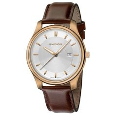 Wenger 01.1421.102 Women's City Classic Silver Dial Brown Leather Strap Watch