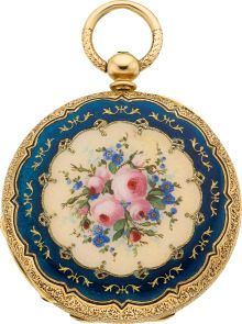 Swiss Gold & Enamel Demi-Hunter, circa 1860 Case: gold, 37 mm, polychrome floral bouquet and blue border on - Available at 2010 December New York. Antique Watches, Antique Clocks, Vintage Watches, Antique Jewelry, Vintage Jewelry, Pocket Watch Antique, Beautiful Watches, Luxury Watches, Watches For Men