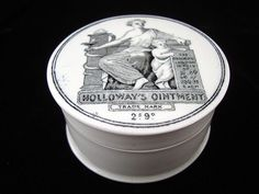 Holloways Ointment Cure-All Medicine Pot ~ London 1880 Genuine Victorian Transfe… How To Cure Gout, Old Crocks, Apothecary Bottles, Medicine Bottles, Aesthetic Movement, Pot Lids, Ginger Beer, Print Advertising, Bottle Art