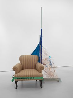 Jessica Stockholder, Assist: Smoke and Mirrors, 2016, unistrut, acrylic paint, blue tarp, copper wire, plastic parts, metal parts, hardware, yellow webbing, winch, 244 x 91 x 76 cm. Courtesy: the artist and Mitchell-Innes & Nash, New York Smoke And Mirrors, Art Installation, Copper Wire, Hanging Chair, Yellow, Blue, Accent Chairs, Hardware, Plastic