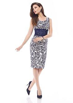 Inter Zeila 9367   GN Design Group INTER ZEILA 9367  Vestido casual corto, en print floral, con detalle de encaje, disponible en marino