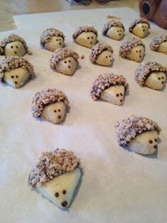 Hedgehog Butter Cookies with toffee pokeys