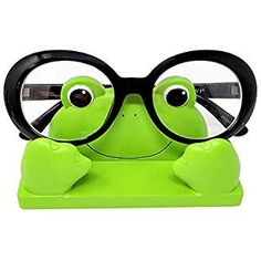 JewelryNanny Fun Animal Eyeglass Holder Stand for Kids Women - Securely Hold Kids Eyeglasses, Adult Reading Glasses like Glasses Organizer for Desk, Bedside Nightstand - Frog