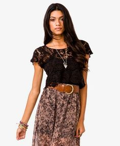 Damask Crop Top   FOREVER21 - for maternity photos, either over a form-fitting maxi, or with a skirt that sits low to show off that bump