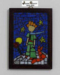 """SOLD! Mosaic Wall Art. Wall hanging. Home decor. My Little Prince inspired by Saint-Exupery's book (15x10cm/5.9""""x3.93"""") by JoGranadosMosaics on Etsy"""