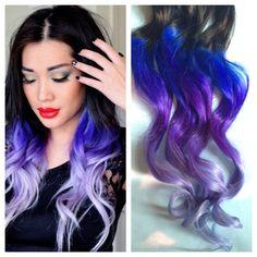 Purple and Blue Hair Clip Extensions Blue Ombre Hair Purple Ombre Hair Weave Human Hair Full Set Bundle Lavender Hippie Hair Dread Hair Dye Colors, Ombre Hair Color, Blonde Ombre, Cool Hair Color, Purple Hair, Purple Ombre, Violet Hair, Burgundy Hair, Brown Hair